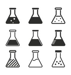 Flask icon set vector image