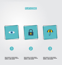 flat icons padlock parasol vision and other vector image vector image