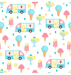 ice cream seamless pattern in flat style vector image vector image