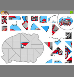 jigsaw puzzle game with locomotive characters vector image vector image