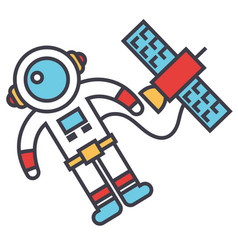 Spaceman in space with spaceship astronaut vector