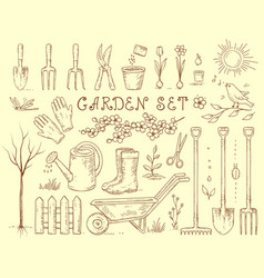 spring set of garden equipment vector image vector image