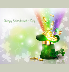 st patricks day green hat with rainbow vector image vector image