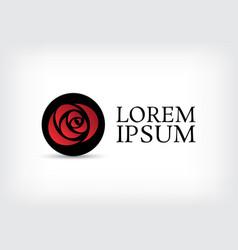 black circle red rose curve logo design template vector image