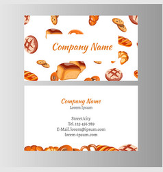 business card template with bakery set vector image vector image