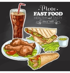 fast food menu on a black board vector image vector image