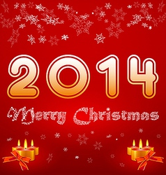 greeting card with the inscription 2014 Merry vector image vector image