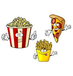Pizza french fries popcorn cartoon characters vector image vector image