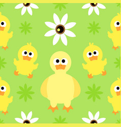 seamless background with funny duck vector image vector image