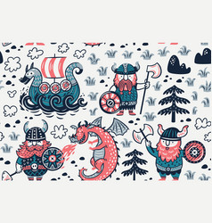 Seamless pattern with vikings for design fabric vector