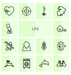 14 life icons vector
