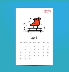 2019 happy new year april calendar template vector