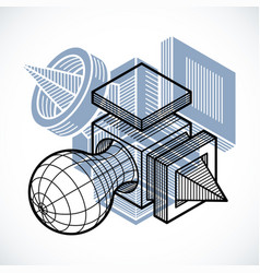 3d design abstract dimensional cube shape vector image
