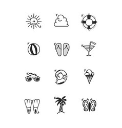 a set of summer icons in a cartoon style doodle vector image