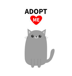 Adopt me dont buy red heart gray cat kitten vector
