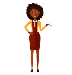African woman presents something cartoon vector