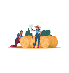 agricultural cartoon workers man and woman work vector image