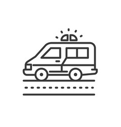 ambulance - line design single isolated icon vector image
