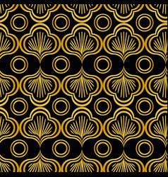 Art deco golden leaves seamless pattern vector