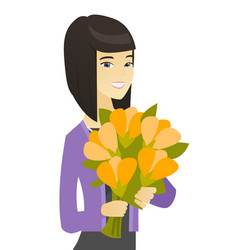 asian business woman holding bouquet of flowers vector image