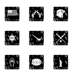 Attractions of USA icons set grunge style vector