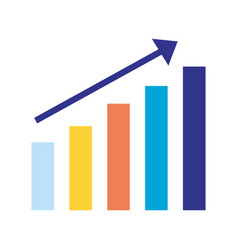 bar chart statistics arrow on white background vector image