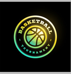 basketball league logo with ball green color vector image