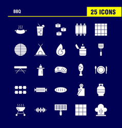 Bbq solid glyph icon pack for designers and vector