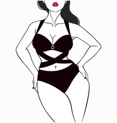 Beautiful female body in underwear vector