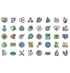bioengineer icons set flat vector image