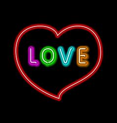 Bright heart neon sign retro neon heart sign on vector