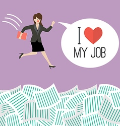Business woman jump into a lot documents vector