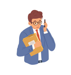 businessman talking on mobile phone young man vector image