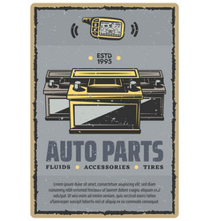 car auto parts retro poster vector image