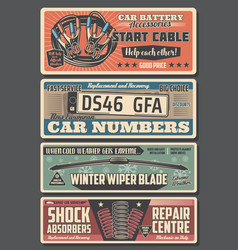 car parts registration plates and engine cables vector image