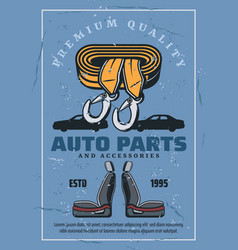 Car seats and towing rope spare parts store vector