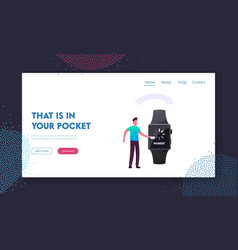 Cashless payment transaction landing page template vector