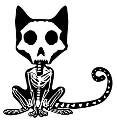 Cat skeleton contour cartoon vector