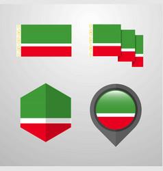 Chechen republic flag design set vector