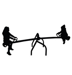 children silhouette on teeter in black color vector image