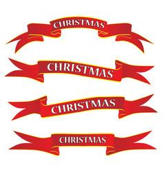 christmas ribbon banner set on white vector image
