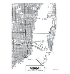city map miami travel poster design vector image