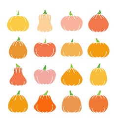 colorful halloween pumpkin flat design icon set vector image