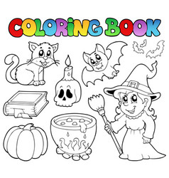 coloring book halloween collection vector image
