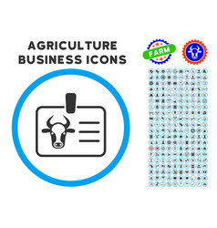 Cow badge rounded icon with set vector