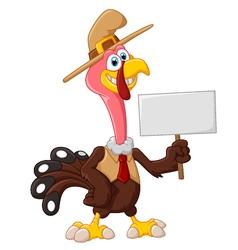 Cute turkey cartoon holding blank sign vector