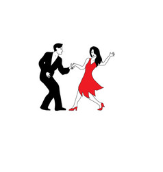dancers in white red and black vector image