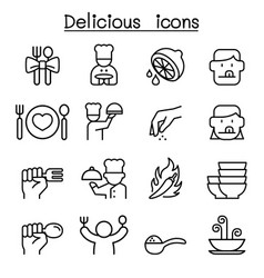 Delicious food icon set in thin line style vector
