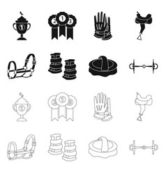 Design equipment and riding logo set of vector