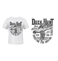 duck hunting t-shirt print mockup sport club vector image
